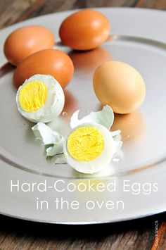 Learn how to prepare hard cooked eggs in the oven without having to boil them. Perfect for cooking a lot of eggs at once for deviled eggs, salads, snacks, and just to have on hand.