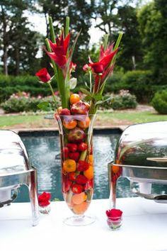 Fruit wedding reception arrangement