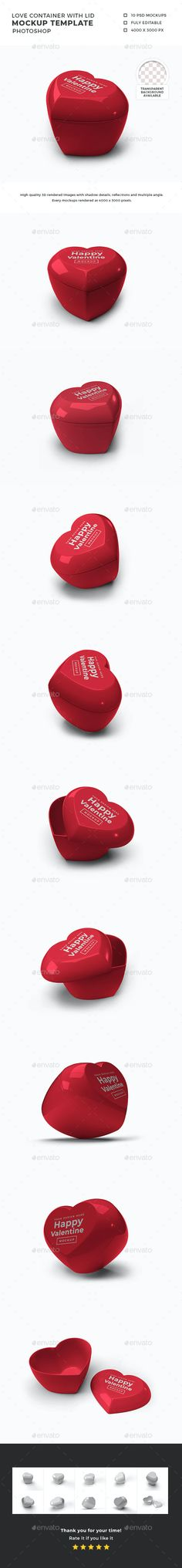 Valentine Love Container with Lid Mockup by DendySign | GraphicRiver