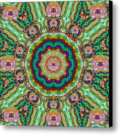 Flower Chakra Of Healing Floral Canvas Print / Canvas Art By Pepita Selles