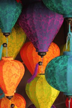 Vietnamese Lamp Shades - hanging in support