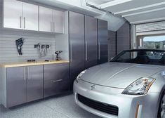 Modern garage storage systems, cabinets and shelving units make these functional spaces look clean and organized Garage Cabinet Systems, Garage Storage Systems, Garage Storage Cabinets, Garage Organization, Cupboards, Modern Shed, Modern Garage, Garage Design, House Design