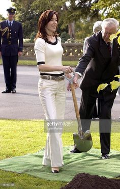March 11, 2005--Crown Prince Frederik & Crown Princess Mary Of Denmark Visit Australia.Planting Two Trees At Government House, Hobart.