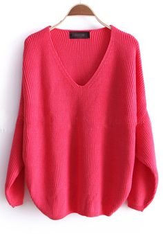 Pink Batwing Long Sleeve Loose Pullovers Sweater