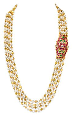 for the day: jewellery for the Indian groom Ganjam's pearl and gold beaded multi-string necklace with a ruby-set side brooch.s pearl and gold beaded multi-string necklace with a ruby-set side brooch. India Jewelry, Temple Jewellery, Pearl Jewelry, Wedding Jewelry, Jewelery, Gold Jewelry, Swarovski Jewelry, Leather Jewelry, Luxury Jewelry