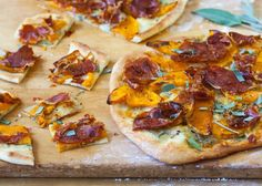 Little pizza squares with crispy prosciutto, sweet roasted squash, and piquant blue cheese make great hors d'oeuvres to serve with drinks. Roasted Squash, Butternut Squash, Gourmet Pizza Recipes, Prosciutto Pizza, How To Make Cheese, Blue Cheese, Winter Food, Vegetable Pizza, Healthy