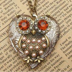 steampunk big eye owl locket necklace