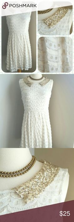 Kirra Slayed in Sequins Party Dress Creamy outlined scallops set the makeup of this party piece, offset by a glittering pointed collar and flowing skirt. Perfect for, well, anything at anytime!  Back zip Fully lined Cotton and nylon  Size large. Excellent condition! ModCloth Dresses Mini