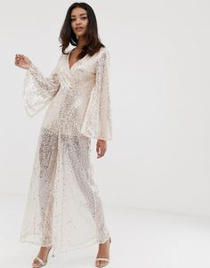61fea94ce782 The Girlcode sequin kimono wide leg jumpsuit in pink