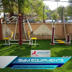 Find all types of outdoor Gym Equipments for parks, gardens, schools and real estate properties with Royal Play. #royalplayequipment #gymequipment #childrenplayground #playgroundequipment