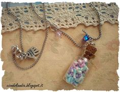 Glass candy bottle necklace Polymer clay marshmallow