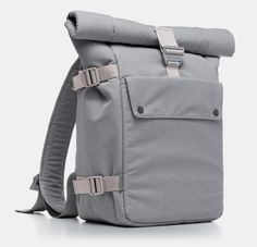 "Our Backpack gets you moving in style. Roll the top up, or fold it over depending on your mood. The ergonomic shoulder straps contour around the neck to fit just right on the body. Styled with custom aluminum carabiners and quick-release thumb levers, creating a custom fit is virtually effortless. Fits up a 17"" Macbook."
