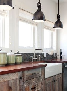 Barn Wood Kitchen Cabinets. Reminds me of the house I grew up in...even the orange-ish countertops!