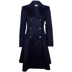 Issa Dark Navy Double Breasted Wool/Cashmere Flare Coat ($1,355) ❤ liked on Polyvore featuring outerwear, coats, jackets, coats & jackets, woolen coat, double breasted wool coat, navy wool coat, cashmere coat and blue wool coat