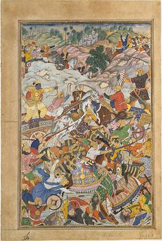 """Krishna and Balarma Fighting the Enemy"", Folio from a Harivamsa (The Legend of Hari (Krishna)), ca. 1590–95. Islamic. The Metropolitan Museum of Art, New York. Purchase, Edward C. Moore Jr. Gift, 1928 (28.63.3) 