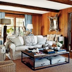 This homeowner filled her living room with unexpected treasures, like wood and building fragments, found objects, and natural elements with lots of great texture. When decorating, pile on the things you love and edit away later for the best results.