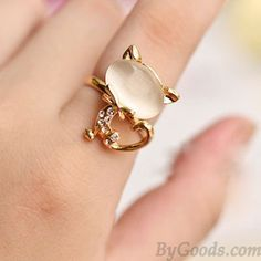 Cute Opal Cat Index Finger Opening Ring  only $8.99 in ByGoods.com