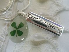Lucky Me-Real 4 Leaf Clover White Cat's Eye by giftforallseasons