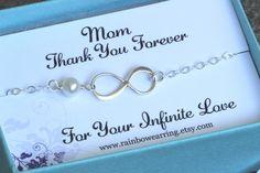 Thank You Mom Infinity Bracelet - Mother of Bride or Groom,Eternity Bracelet,Wedding Special Gift,Jewelry Card Set.Figer 8.Infinity Bracelet by rainbowearring on Etsy https://www.etsy.com/listing/195044004/thank-you-mom-infinity-bracelet-mother
