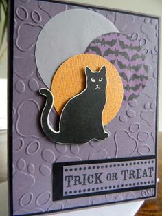Making this card was so easy since all you need is the cat punch and designer series paper! Everyone has to love this black cat as he/she is truly Halloween