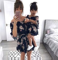 NEW Family Clothes Lady's Mother Daughter Matching Summer Baby Girl Dress Outfit Mother Daughter Fashion, Mother Daughter Matching Outfits, Matching Family Outfits, Mom Daughter, Mother And Daughter Clothes, Mom And Baby Outfits, Girl Outfits, Mommy And Me Dresses, Mode Outfits