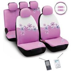 Daisy Flowers Pink and White 12 Piece Automotive Seat Cover Set http://www.thecarmania.com/best-girly-car-seat-covers/