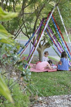 tinsel tent for drawing in the late afternoons during the school holidays up to Christmas