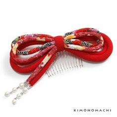 髪飾り 丸ぐけリボンコーム「赤色 古布調」成人式の振袖に 付けたし髪飾り お子様の着物にも <H>【メール便不可】【楽天市場】
