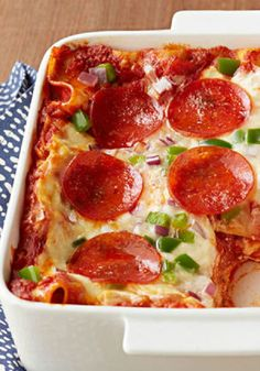 Easy Pepperoni Pizza Lasagna – Pepperoni pizza and lasagna all in one dish? That'll get your kids' attention. Know what got ours? That first word—easy!