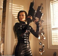 Working mother: The Ukranian-born actress as Alice in 2012's Resident Evil: Retribution...
