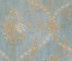 Vintage Victorian Floral Swag Damask Wallpaper, Distressed Dusty Blue Green Country French, Handpainted Gold Trellis - By The Yard Damask Wallpaper, Wallpaper Samples, Paper Wallpaper, Visual Texture, Victorian Decor, Dusty Blue, Aqua Blue, Pink, To Color