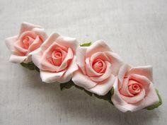 Hair barrette polymer clay flower Pink Roses by FloraAkkerman, $20.00