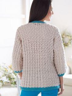 Cluster Stitch Cardigan, free crochet pattern:  http://www.yarnspirations.com/assets/files/pattern-files/pdf/Bernat_Satinweb37_cr_cardigan.en_US.pdf