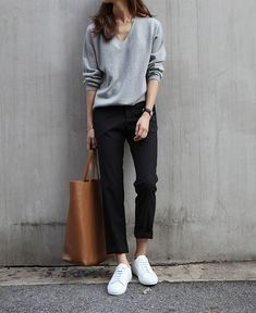 Black cropped pants, Superga sneakers, gray sweater or long sleeve tee, camel tote bag