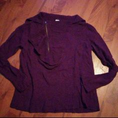 XL J. Crew Women's Purple Sweater Size XL J. Crew Women's Sweater. Great condition - no flaws. It is a dark purple. Unique zipper design at the chest. Made of viscose, nylon, merino wool, and alpaca. J. Crew Sweaters Crew & Scoop Necks