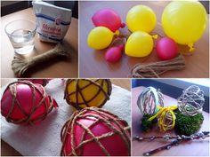 Ozdoby wielkanocne ręcznie robione - jajka ze sznurka jutowego
