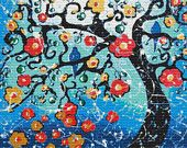 Modern Cross Stitch Kit By Helen Janow Miqueo ' Soulmates ' Tree of Life wall art with Blossoms
