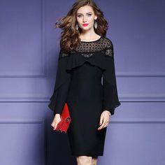 hot office work lady Wool dress 2018 new Spring Clothes women elegant Long  sleeve Dress plus size S XXXL pack hip dresses winter f6a97a6c443e