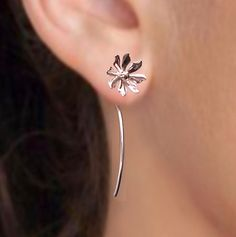 925. Cute long stem Wild flower -  sterling silver earrings jewelry, studs,  gift for sister, girlfriend 102412. via Etsy.