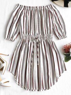 Off The Shoulder Striped Dress - Stripe S - TD Mercado : Off The Shoulder Striped Dress – Stripe S Frock Design, Baby Dress Design, Frocks For Girls, Dresses Kids Girl, Kids Outfits, Cute Outfits, Ladies Dresses, White Mini Dress, Striped Dress