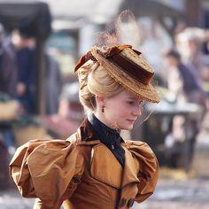 1890's costume, Australian actress Mia Wasikowska on the set of Victorian thriller Crimson Peak.