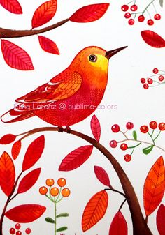 Bird Original Painting Red Wall Art Great Room by sublimecolors Watercolor Bird, Watercolor Paintings, Original Paintings, Art And Illustration, Red Wall Art, Color Pencil Art, Arte Pop, Bird Drawings, Fabric Painting
