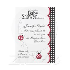 Gingham Lady Bug Baby Shower Invitation from Zazzle.com