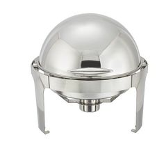 Winware 6 Quart Stainless Steel Round Roll Top Chafer
