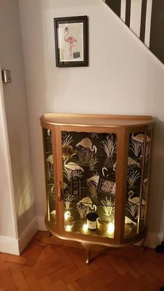 Gold vintage display cabinet with original decorative key. For Sale in Wirral, Merseyside Diy Furniture Projects, Recycled Furniture, Refurbished Furniture, Paint Furniture, Shabby Chic Furniture, Furniture Makeover, Vintage Furniture, Refurbished Cabinets, Furniture Removal