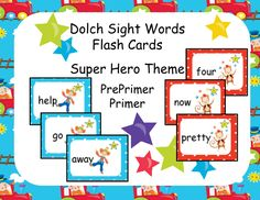 This product is a flash card set of Dolch Sight words for both PrePrimer and Primer level. Print them out on card stock, laminate and cut out. Store them in a zip lock baggie.  #teachersherpa
