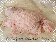 Lacy Pannelled Yoked Matinee Set 16-22 inch doll/0-3m baby-matinee, baby, knitting pattern, reborn, lacy