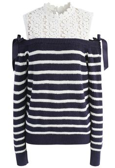Sweet Evocation Cold-shoulder Sweater in Navy Stripes - New Arrivals - Retro, Indie and Unique Fashion