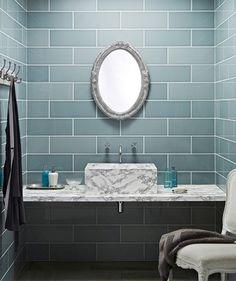 Bathroom wall tiles at Topps Tiles. Tiles, Topps Tiles, Edwardian Bathroom, Blue Bathroom, Round Mirror Bathroom, Small Bathroom, Bathroom Inspiration, Tile Bathroom, Shower Design