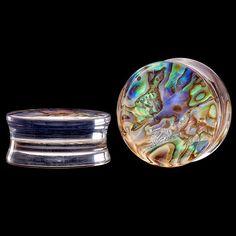 0 Gauge (8mm) Double Flared Abalone Shell Clear Acrylic Plug at FreshTrends.com on Wanelo